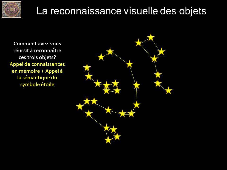La reconnaissance visuelle des objets Comment avez-vous réussit à reconnaître ces trois objets? Appel de connaissances en mémoire + Appel à la sémanti