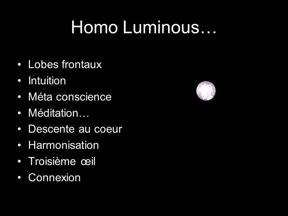 Homo Luminous… Lobes frontaux Intuition Méta conscience Méditation… Descente au coeur Harmonisation Troisième œil Connexion