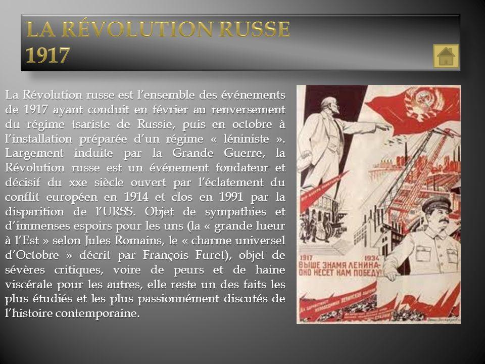 La Révolution russe est lensemble des événements de 1917 ayant conduit en février au renversement du régime tsariste de Russie, puis en octobre à lins
