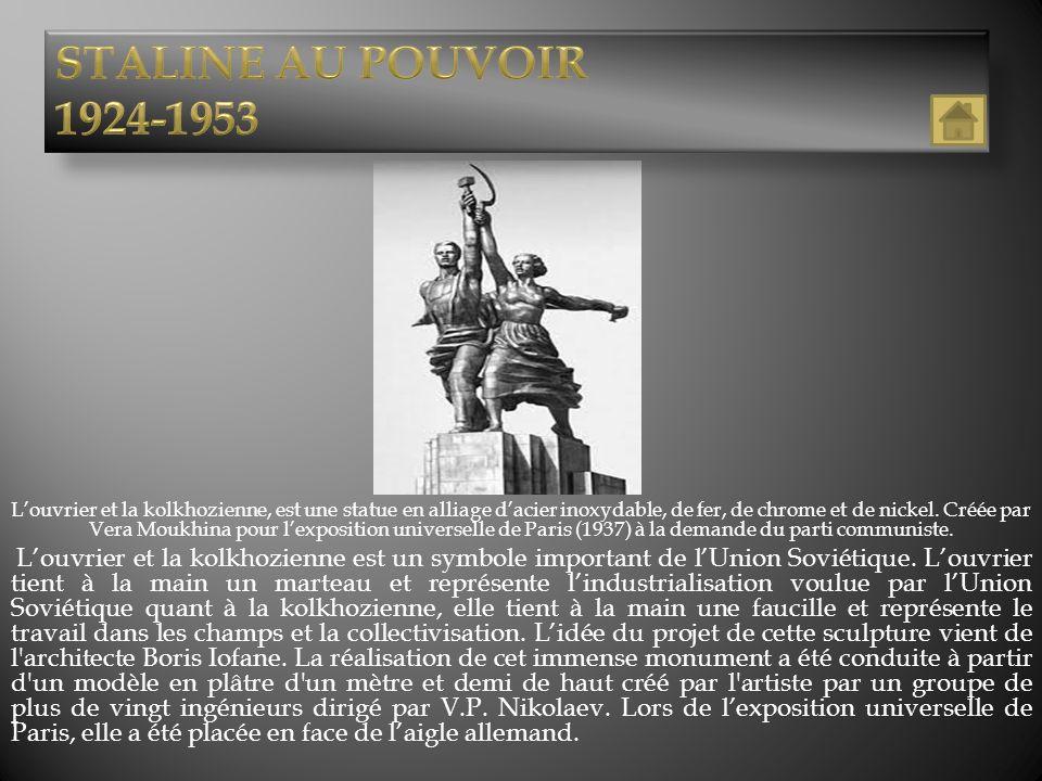 Louvrier et la kolkhozienne, est une statue en alliage dacier inoxydable, de fer, de chrome et de nickel. Créée par Vera Moukhina pour lexposition uni
