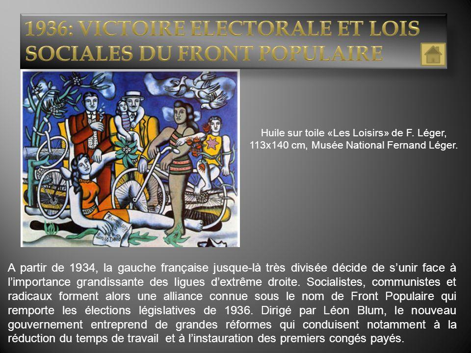 Huile sur toile «Les Loisirs» de F. Léger, 113x140 cm, Musée National Fernand Léger. A partir de 1934, la gauche française jusque-là très divisée déci