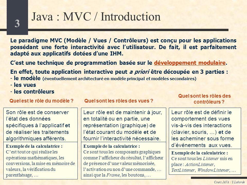 3 Cours JAVA / Y.Laborde Java : MVC / Introduction Le paradigme MVC (Modèle / Vues / Contrôleurs) est conçu pour les applications possédant une forte