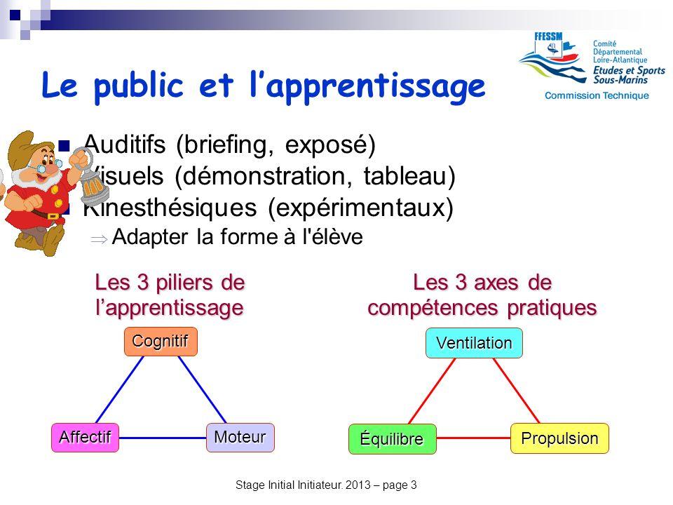 Stage Initial Initiateur. 2013 – page 3 Le public et lapprentissage Auditifs (briefing, exposé) Visuels (démonstration, tableau) Kinesthésiques (expér