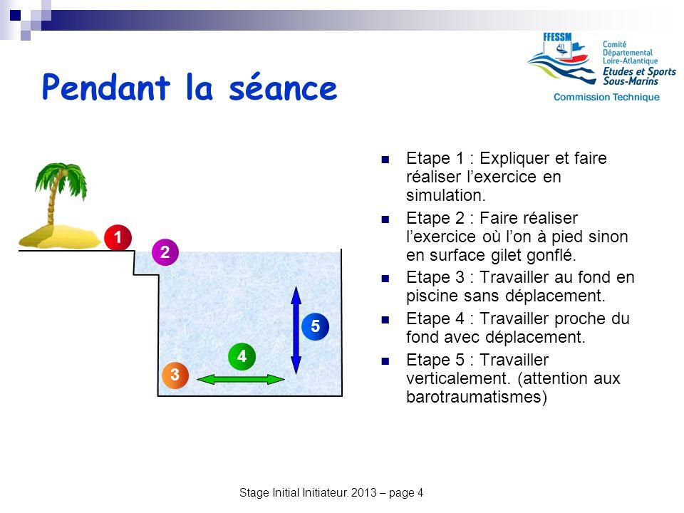 Stage Initial Initiateur. 2013 – page 4 Pendant la séance Etape 1 : Expliquer et faire réaliser lexercice en simulation. Etape 2 : Faire réaliser lexe