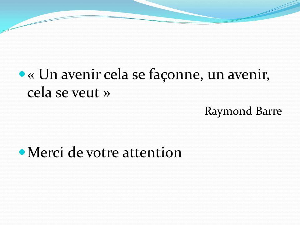 « Un avenir cela se façonne, un avenir, cela se veut » Raymond Barre Merci de votre attention
