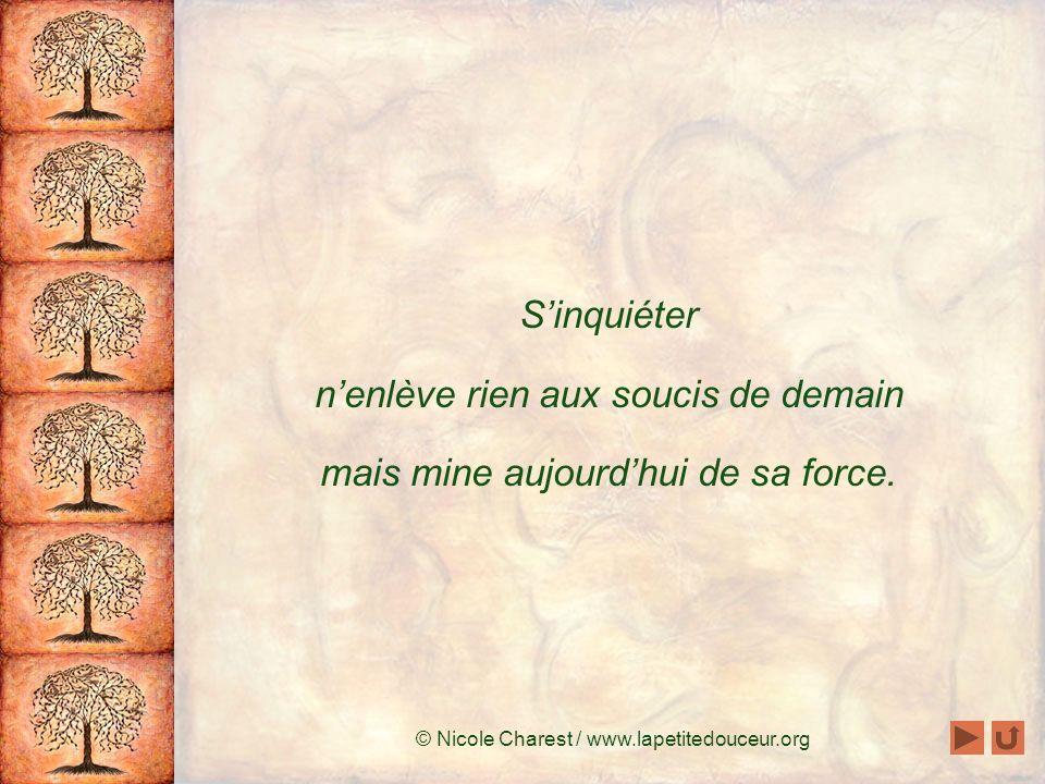 © Nicole Charest / www.lapetitedouceur.org Il ne nous reste donc quaujourdhui.