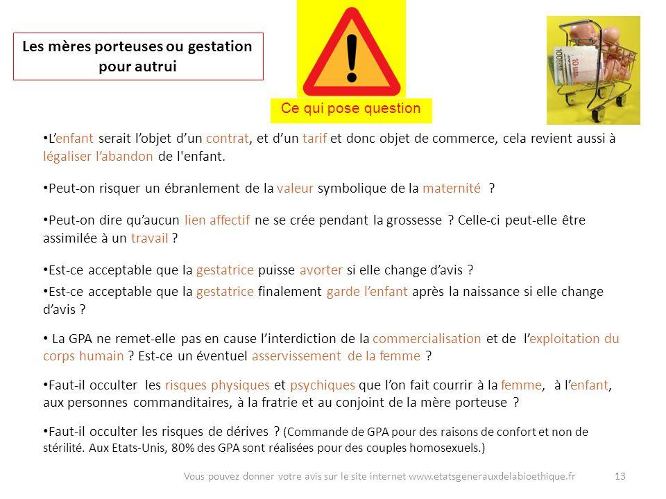 13Vous pouvez donner votre avis sur le site internet www.etatsgenerauxdelabioethique.fr Les mères porteuses ou gestation pour autrui Lenfant serait lo