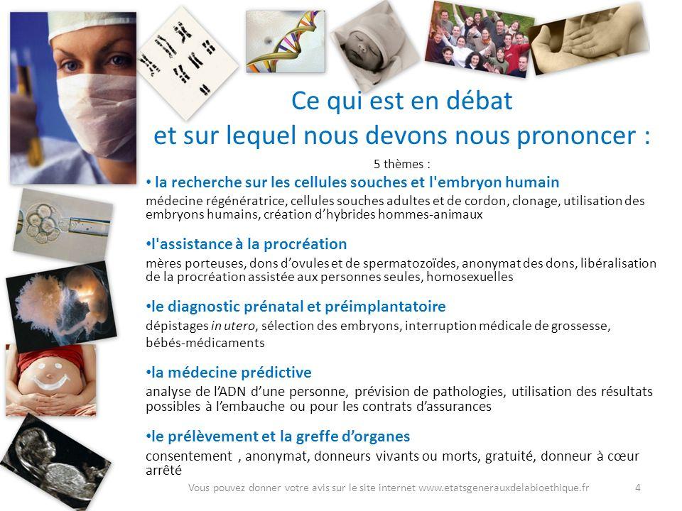Ce qui est en débat et sur lequel nous devons nous prononcer : 5 thèmes : la recherche sur les cellules souches et l'embryon humain médecine régénérat