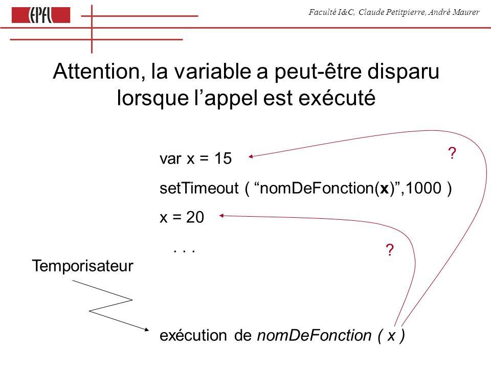 Faculté I&C, Claude Petitpierre, André Maurer var x = 15 setTimeout ( nomDeFonction(x),1000 ) x = 20... exécution de nomDeFonction ( x ) Temporisateur