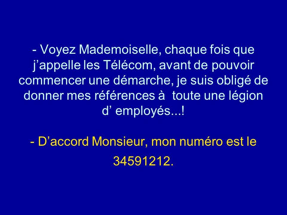 Diaporamas-a-la-con.com - Voyez Mademoiselle, chaque fois que jappelle les Télécom, avant de pouvoir commencer une démarche, je suis obligé de donner