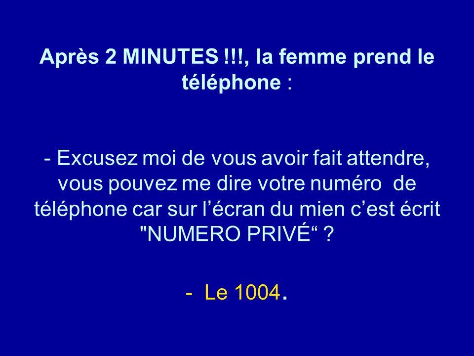 Diaporamas-a-la-con.com Après 2 MINUTES !!!, la femme prend le téléphone : - Excusez moi de vous avoir fait attendre, vous pouvez me dire votre numéro