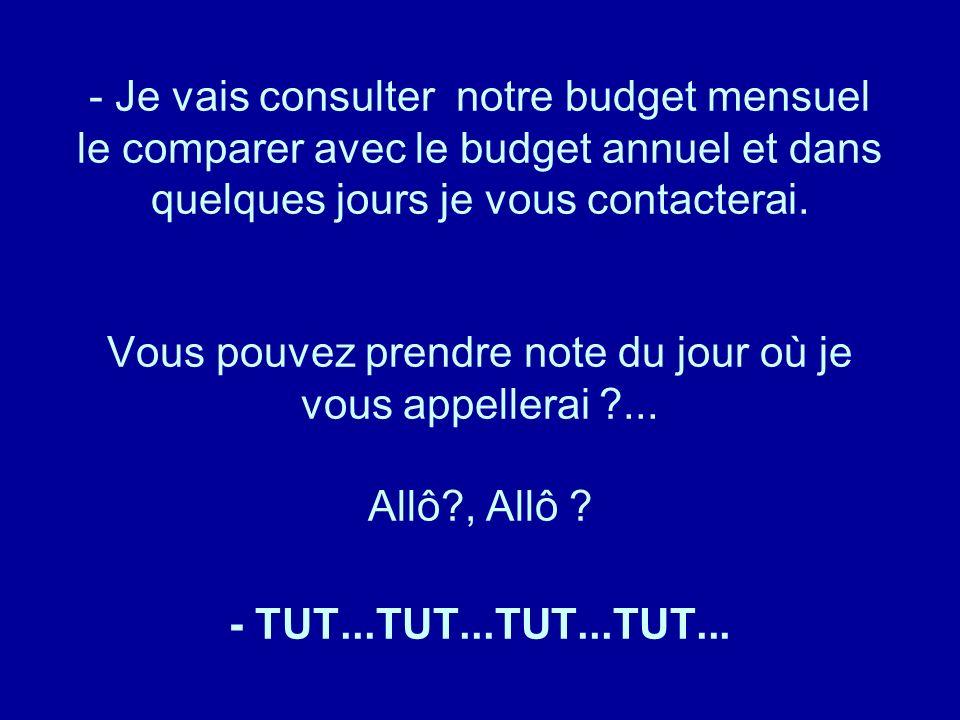 Diaporamas-a-la-con.com - Je vais consulter notre budget mensuel le comparer avec le budget annuel et dans quelques jours je vous contacterai. Vous po