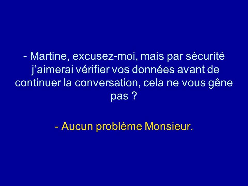 Diaporamas-a-la-con.com - Martine, excusez-moi, mais par sécurité jaimerai vérifier vos données avant de continuer la conversation, cela ne vous gêne