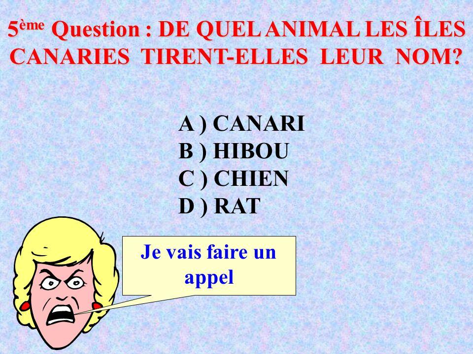 5 ème Question : DE QUEL ANIMAL LES ÎLES CANARIES TIRENT-ELLES LEUR NOM.