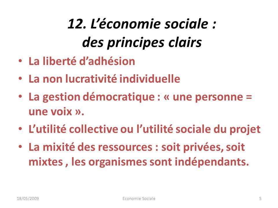 12. Léconomie sociale : des principes clairs La liberté dadhésion La non lucrativité individuelle La gestion démocratique : « une personne = une voix