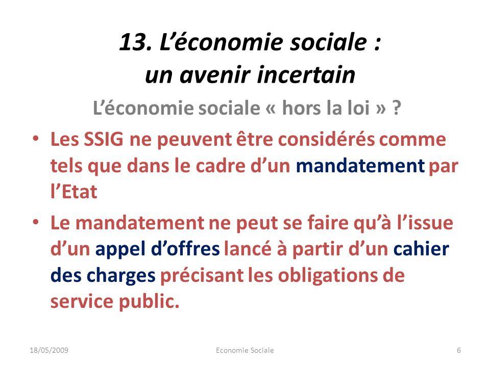 13.Léconomie sociale : un avenir incertain Léconomie sociale « hors la loi » .