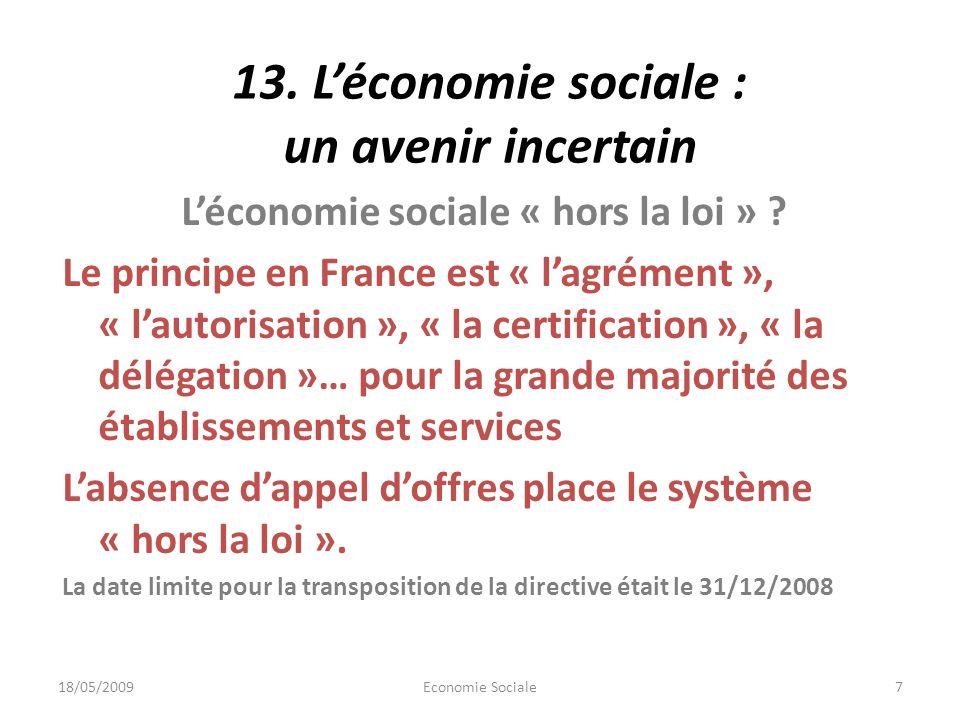 13. Léconomie sociale : un avenir incertain Léconomie sociale « hors la loi » .