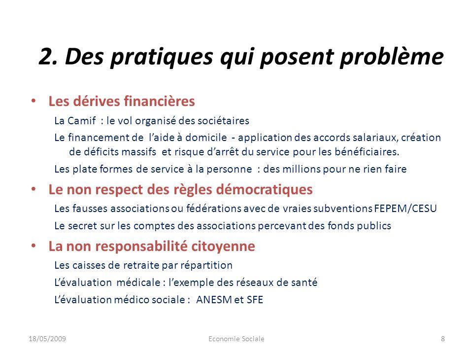 2. Des pratiques qui posent problème Les dérives financières La Camif : le vol organisé des sociétaires Le financement de laide à domicile - applicati