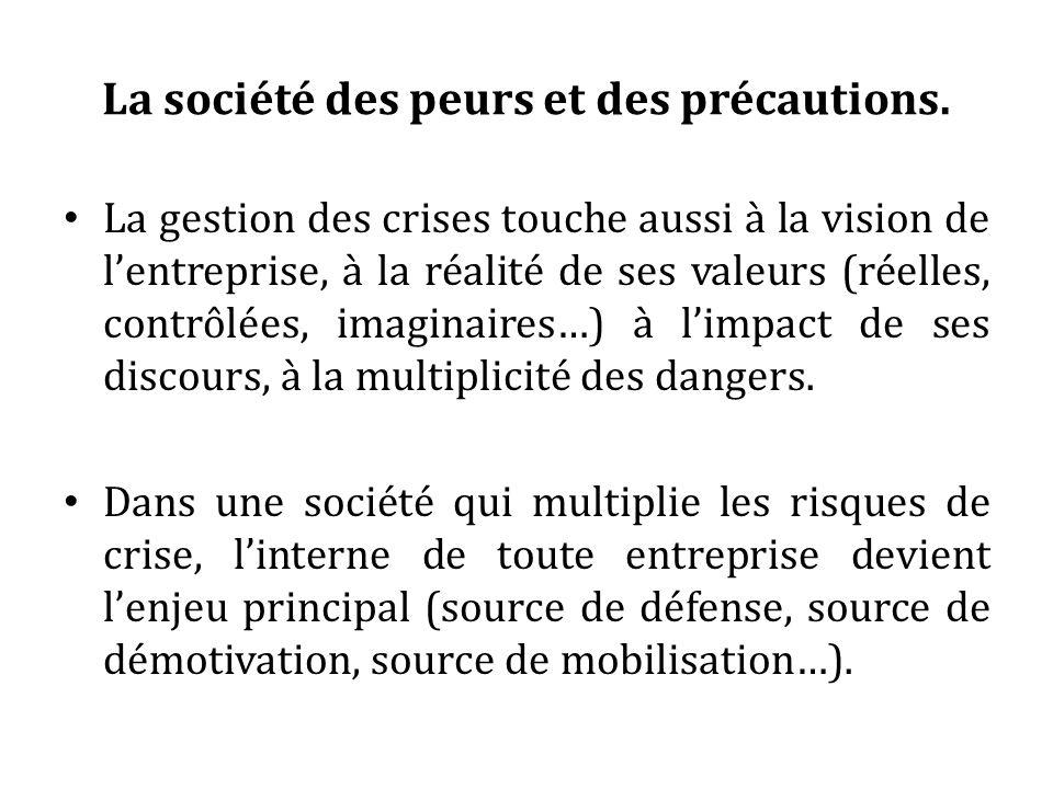 La société des peurs et des précautions. La gestion des crises touche aussi à la vision de lentreprise, à la réalité de ses valeurs (réelles, contrôlé