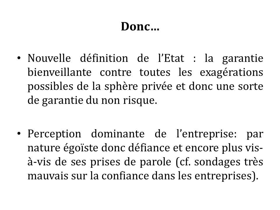 Donc… Nouvelle définition de lEtat : la garantie bienveillante contre toutes les exagérations possibles de la sphère privée et donc une sorte de garantie du non risque.