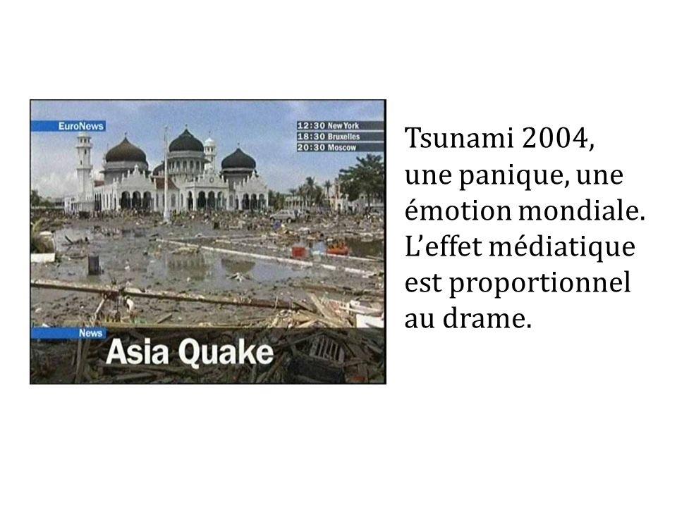 Tsunami 2004, une panique, une émotion mondiale. Leffet médiatique est proportionnel au drame.