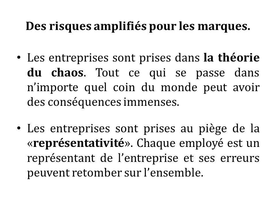 Des risques amplifiés pour les marques. Les entreprises sont prises dans la théorie du chaos. Tout ce qui se passe dans nimporte quel coin du monde pe
