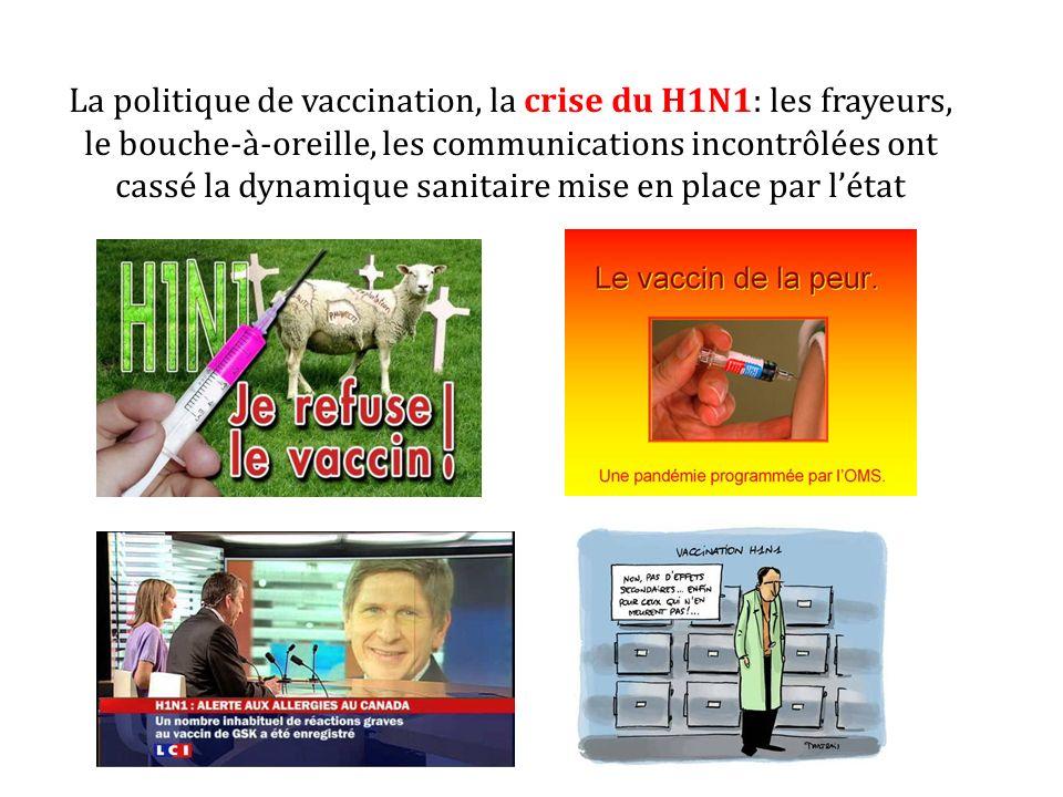 La politique de vaccination, la crise du H1N1: les frayeurs, le bouche-à-oreille, les communications incontrôlées ont cassé la dynamique sanitaire mis