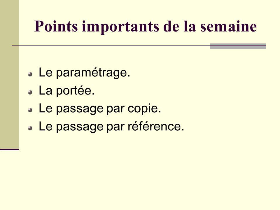 Points importants de la semaine Le paramétrage.La portée.
