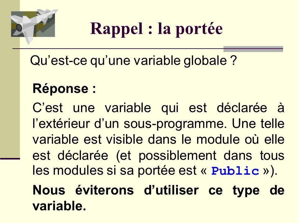 Rappel : la portée Réponse : Cest une variable qui est déclarée à lextérieur dun sous-programme.