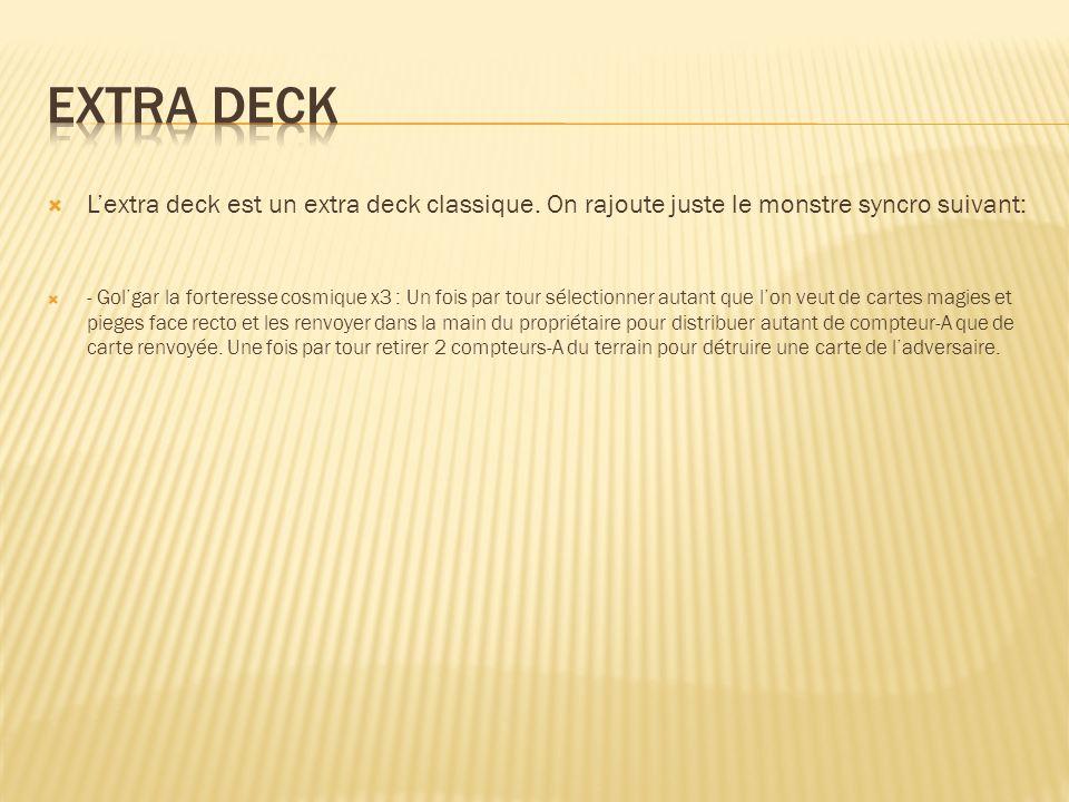 Lextra deck est un extra deck classique. On rajoute juste le monstre syncro suivant: - Golgar la forteresse cosmique x3 : Un fois par tour sélectionne