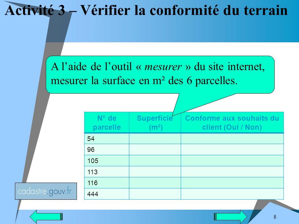 8 Activité 3 – Vérifier la conformité du terrain N° de parcelle Superficie (m²) Conforme aux souhaits du client (Oui / Non) 54 96 105 113 116 444 A laide de loutil « mesurer » du site internet, mesurer la surface en m² des 6 parcelles.