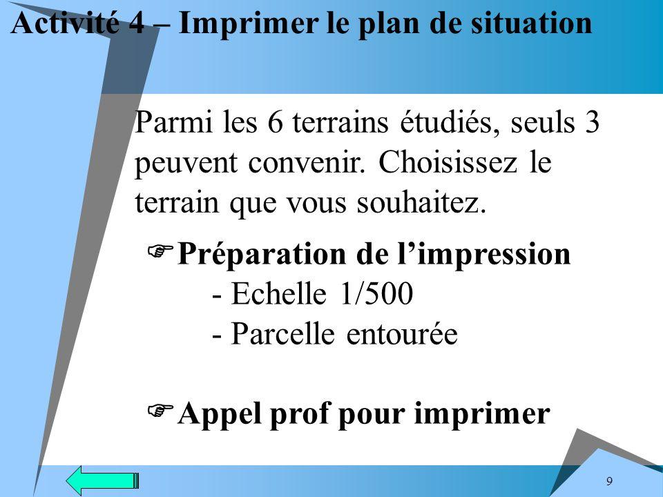 9 Activité 4 – Imprimer le plan de situation Parmi les 6 terrains étudiés, seuls 3 peuvent convenir.