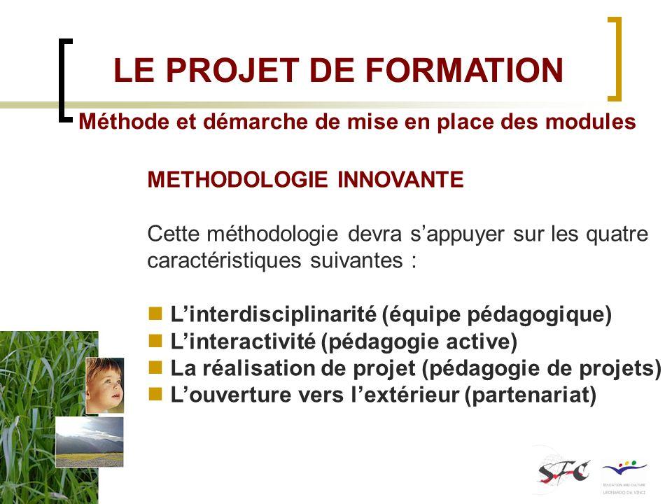 Méthode et démarche de mise en place des modules METHODOLOGIE INNOVANTE Cette méthodologie devra sappuyer sur les quatre caractéristiques suivantes :