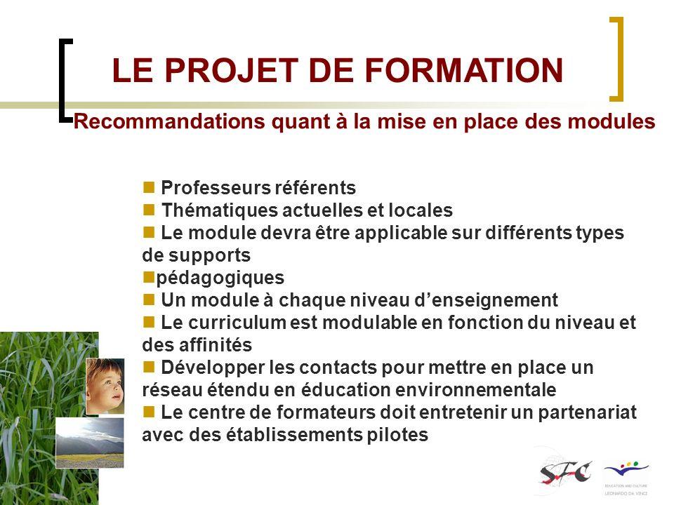 Recommandations quant à la mise en place des modules Professeurs référents Thématiques actuelles et locales Le module devra être applicable sur différ