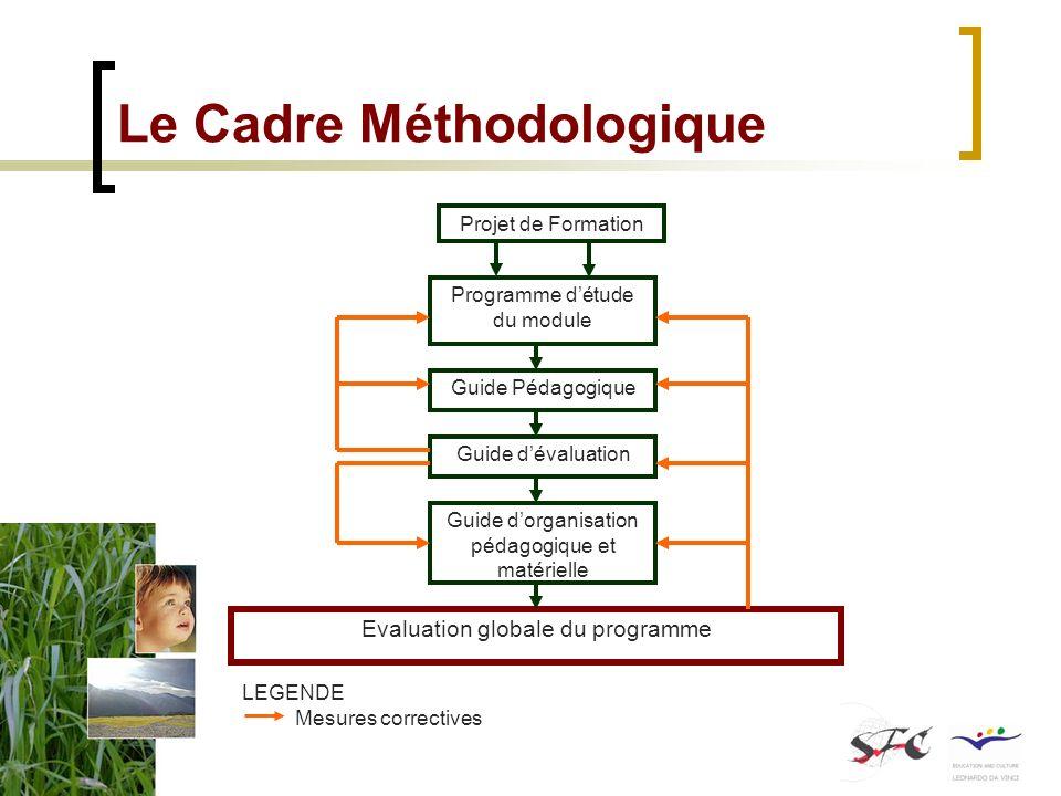 Le Cadre Méthodologique Programme détude du module Guide Pédagogique Guide dévaluation Guide dorganisation pédagogique et matérielle Evaluation global