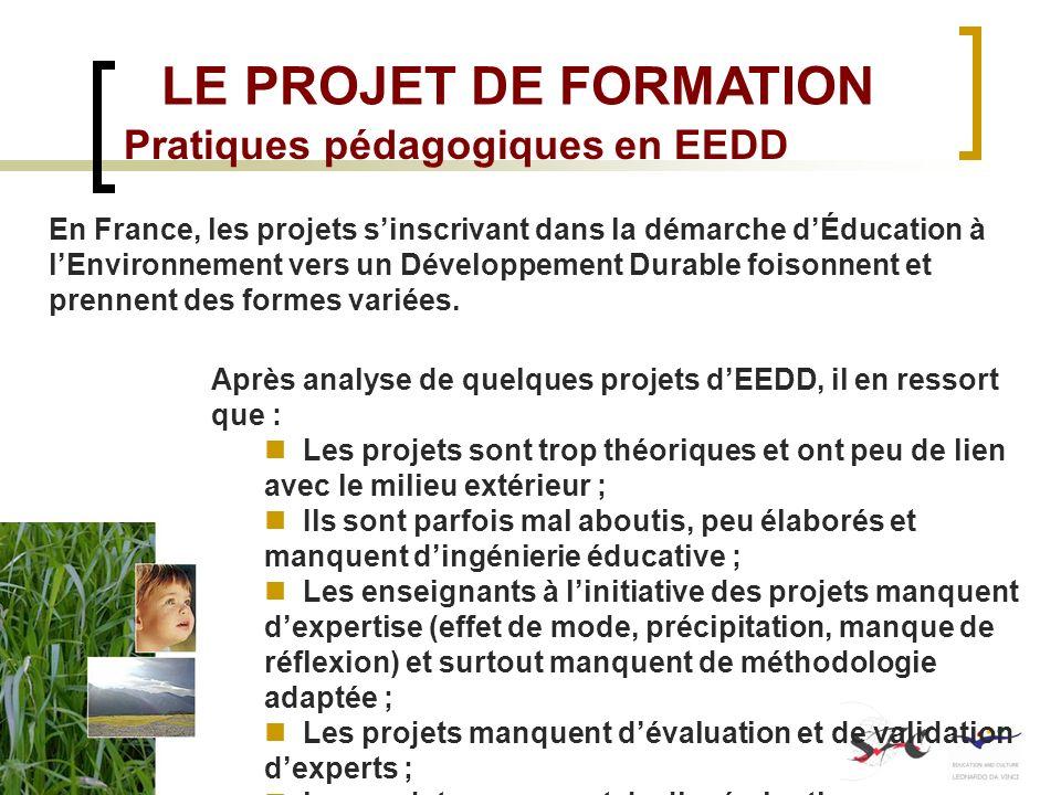LE PROJET DE FORMATION Pratiques pédagogiques en EEDD En France, les projets sinscrivant dans la démarche dÉducation à lEnvironnement vers un Développ