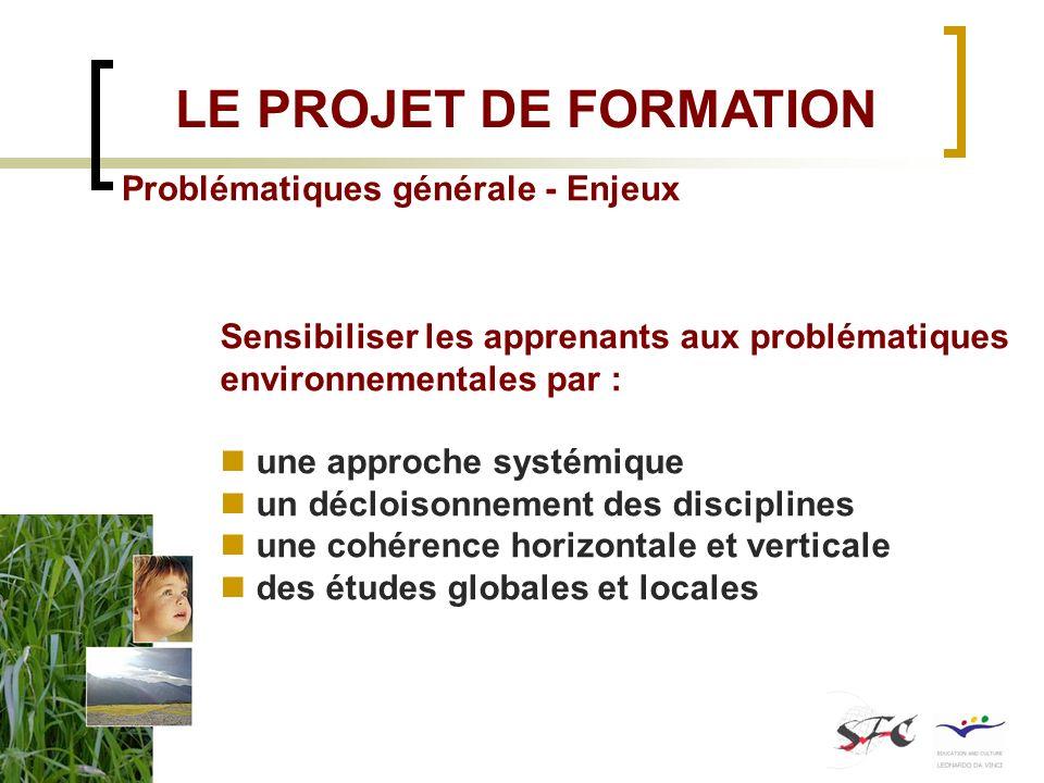 Problématiques générale - Enjeux Sensibiliser les apprenants aux problématiques environnementales par : une approche systémique un décloisonnement des