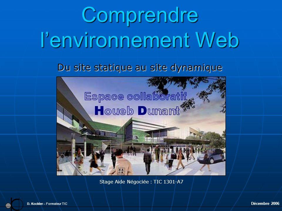 Comprendre lenvironnement Web Du site statique au site dynamique D. Kockler – Formateur TIC Stage Aide Négociée : TIC 1301-A7 Décembre 2006