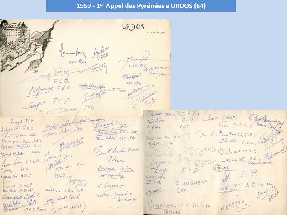 1965 - 7 ème Appel des Pyrénées Forêt de BARROUS – 900 m (31) Club organisateur : C.R.Commingeois le 26 septembre