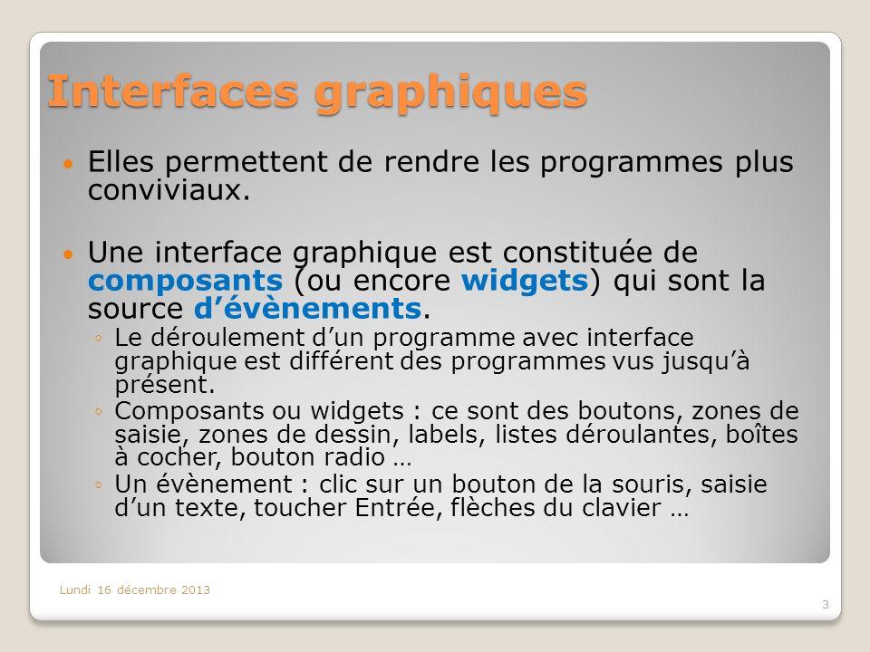 Interfaces graphiques Elles permettent de rendre les programmes plus conviviaux. Une interface graphique est constituée de composants (ou encore widge