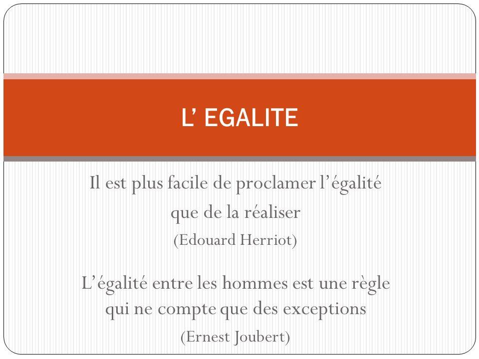 Il est plus facile de proclamer légalité que de la réaliser (Edouard Herriot) Légalité entre les hommes est une règle qui ne compte que des exceptions (Ernest Joubert) L EGALITE