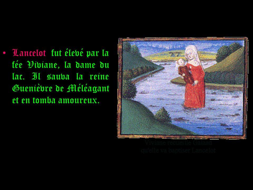 Lancelot fut élevé par la fée Viviane, la dame du lac. Il sauva la reine Guenièvre de Méléagant et en tomba amoureux.