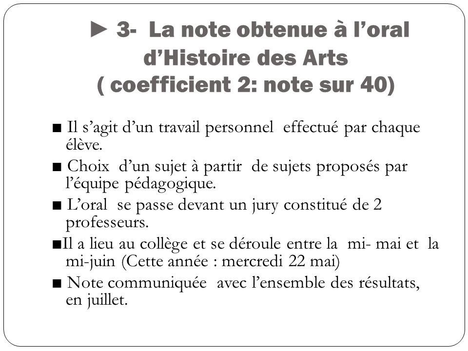 3- La note obtenue à loral dHistoire des Arts ( coefficient 2: note sur 40) Il sagit dun travail personnel effectué par chaque élève.