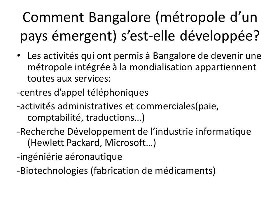 Comment Bangalore (métropole dun pays émergent) sest-elle développée.
