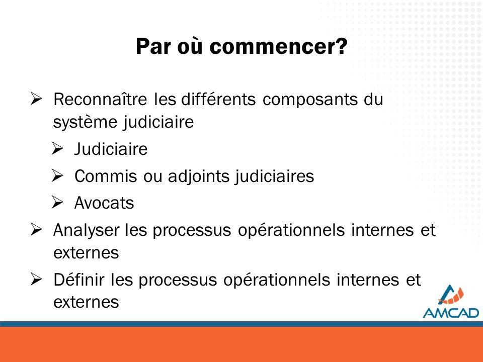 Par où commencer? Reconnaître les différents composants du système judiciaire Judiciaire Commis ou adjoints judiciaires Avocats Analyser les processus