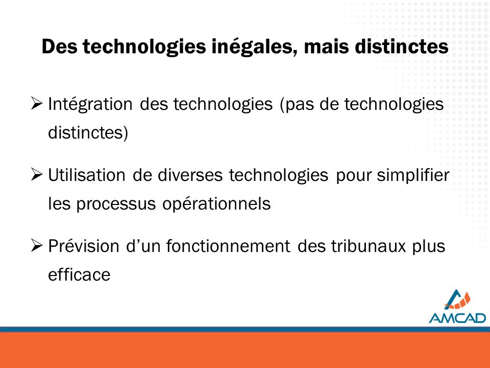 Des technologies inégales, mais distinctes Intégration des technologies (pas de technologies distinctes) Utilisation de diverses technologies pour sim