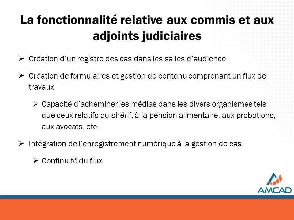 La fonctionnalité relative aux commis et aux adjoints judiciaires Création dun registre des cas dans les salles daudience Création de formulaires et g