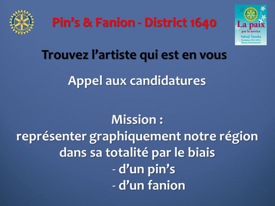 Pins & Fanion - District 1640 Trouvez lartiste qui est en vous Appel aux candidatures Mission : représenter graphiquement notre région dans sa totalité par le biais - dun pins - dun fanion