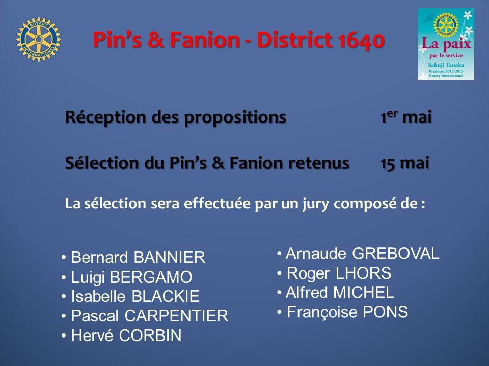 Pins & Fanion - District 1640 Réception des propositions Sélection du Pins & Fanion retenus 1 er mai 15 mai La sélection sera effectuée par un jury co