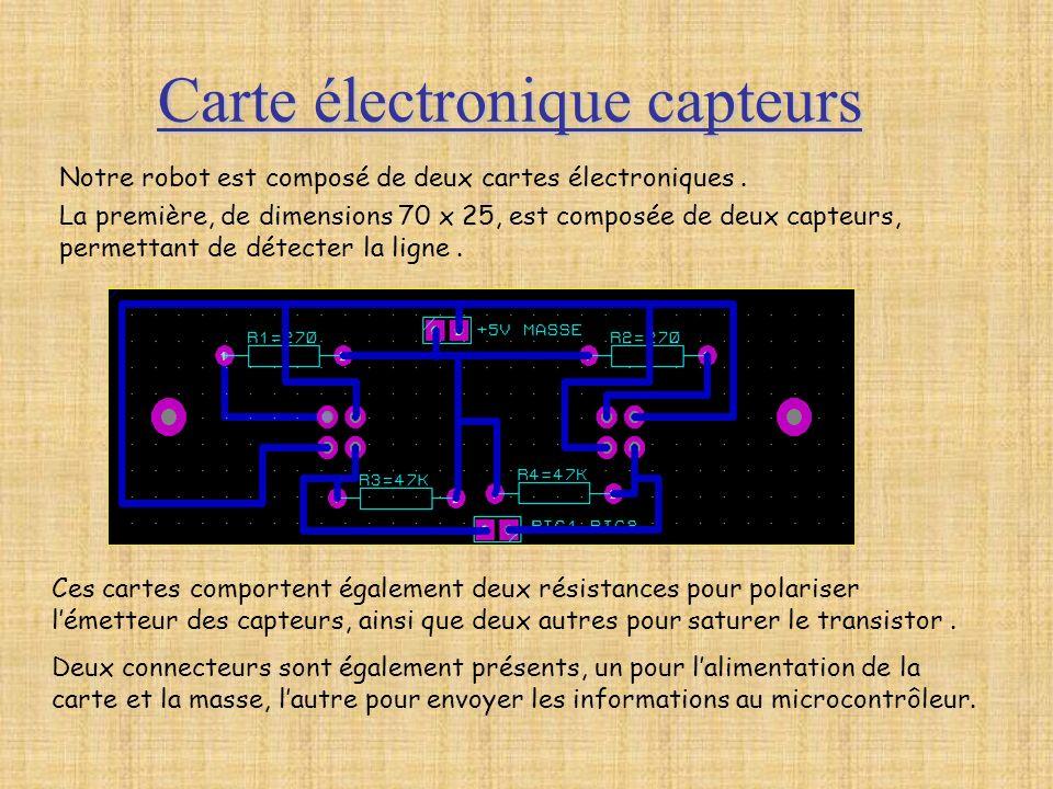 Carte électronique capteurs Notre robot est composé de deux cartes électroniques. La première, de dimensions 70 x 25, est composée de deux capteurs, p
